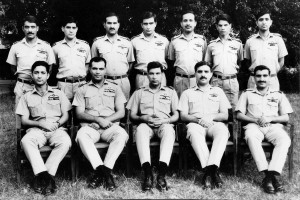 NO 5 SQUADRON BEFORE THE 1971 WAR Seated L-R: F/L Shafique Haider, S/L Farooq Umar, W/C Hakimullah (Officer Commanding), S/L Farooq Feroze, F/L Khalid Iqbal Standing L-R: F/L Safdar Mahmood, F/L Najib Akhtar, F/L Salimuddin, F/L Farooq Habib, F/L Sarfaraz, F/L Saeed Anwar, F/O Hasnat Ahmad